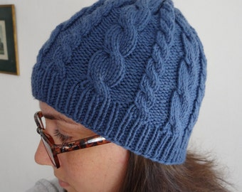 Blue knitted warm cable hat / wool, soft, winter accesory, stretchy