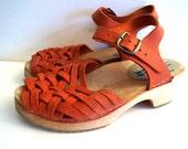 Wood clogs  Boho shoes Vintage wooden clogs Eur 37 by MOHEDA Swedish Rustic women shoes Open Back Clogs Red shoes Platform Clogs Sandals