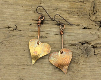 Hand forged brass heart dangle earrings with copper drops, sale price