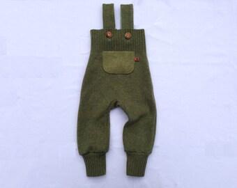 Bib shorts wool Gr. 62/68, upcycling, green