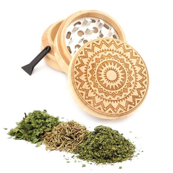 Mandala Design Engraved Premium Natural Wooden Grinder Item # PW050916-94