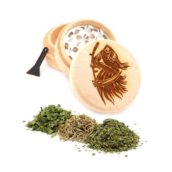 Skull Engraved Premium Natural Wooden Grinder Item # PW91316-21