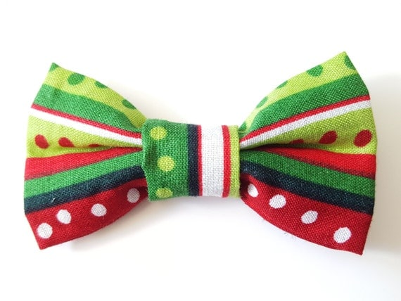 Christmas Green and Red Stripe Bow for Cat or Small Dog Collars, Matching Velcro Collar 100% Sales Donated to Feeding Feral Cats Read in Bio