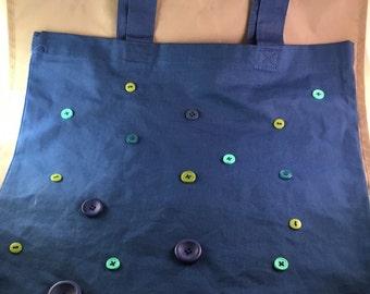 Decorative tote bag royal blue