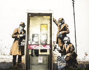 Banksy Canvas - GCHQ - Multiple Sizes(UV coating, Wooden Frames, Ready-to-hang)