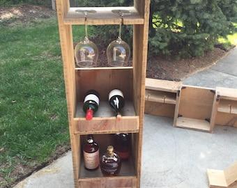 Standup Reclaimed Barnwood Wine Rack