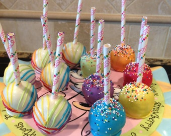 Birthday Cake Pops-One Dozen-Chocolate-Vanilla-Funfetti-Cookie Dough