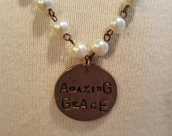 Pearl Necklace with Amazing Grace charm