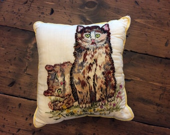 Vintage 70s Crewel Embroidered Cat Pillow (A767)