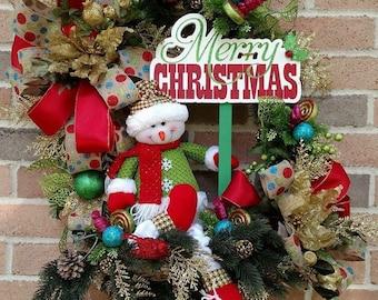 Snowman Christmas Wicker Basket Wreath, Christmas Wreath, Floral Christmas Basket, Snowman Wreath, Snowman Christmas Wreath, Wicker Basket