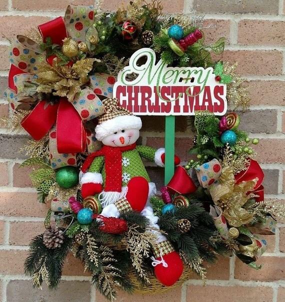Items Similar To Snowman Christmas Wicker Basket Wreath