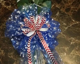 3 softball rose bouquet w/red,white & blue bow.  4th of July/Military edition **limited quantity**