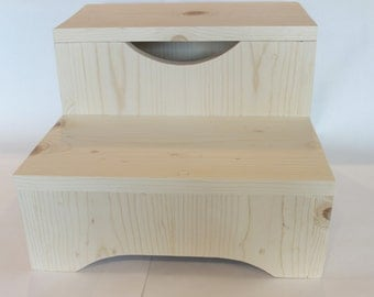 Children's Stool, Two-Step Stool, Bathroom Stool, Kid's Stool, Wooden Foot Stool, 14 inch, 2-Step Stool, 2-Step Child's Stool