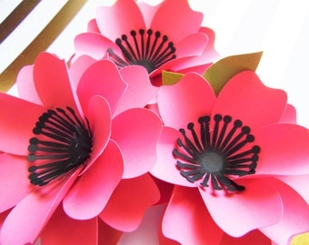 SVG Paper flower Cutting files//DIY paper flower templates// flower patterns & tutorial// DIY Paper flower bouquet// Instant download