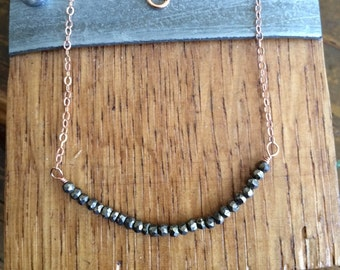 Pyrite on 14k Rose Gold Filled Chain