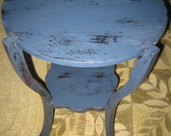 Petite Shabby Chic Chippy Painted Side End Occasional Table Midnight Navy Blue! #BV