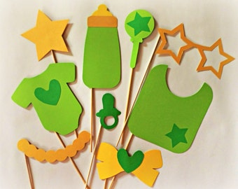 Baby shower photo booth props Baby shower props Baby shower cutouts Green props Pregnancy props Shower props Party photo props