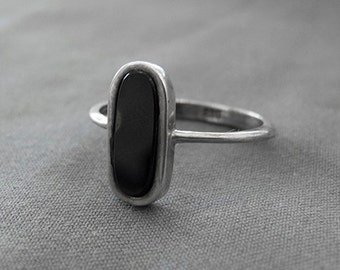 Vintage Onyx, silver ring