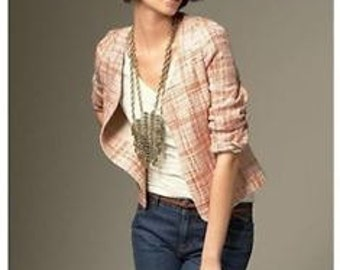 189! Talbots 6P Grace Fit Structured Peach Tweed Palais Jacket/Blazer NEW WITH TAG