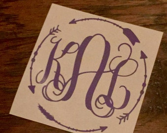 Arrow Border Monogram Sticker