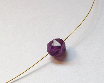 Purple Amethyst Gold Plated Necklace, Elegant and Classic.
