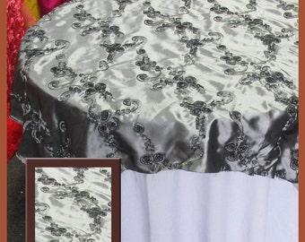 "Gray Ribbon Taffeta Overlay Wedding and Party Supplies 58"" X 58"""