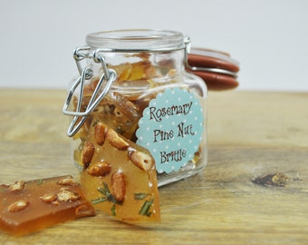 Gourmet homemade Rosemary Pine nut Brittle - Handmade from Scratch candy - 2 oz