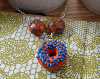 Doughnut Polymer Clay Necklace – Orange Iced and Blue Sprinkle Doughnut – Handmade Polymer Clay Necklace – Pendant Necklace – Food Jewellery
