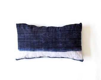 Hmong Pillow Cover - Lumbar pillow - Hemp Batik Pillow - Vintage Indigo - Boho Pillow