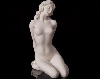 Marble Nude Girl Figurine Naked Women Statue Russian Handmade Statuette For Home Decor Erotic Art Woman Sculpture