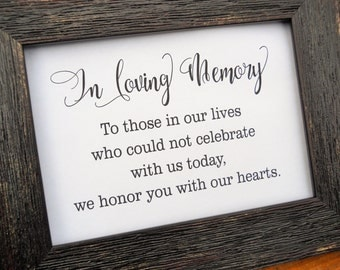IN LOVING MEMORY Sign, In Loving Memory Wedding Sign, Wedding Signage,Wedding Decor, Wedding Decorations, Wedding Favors, Reception Signs