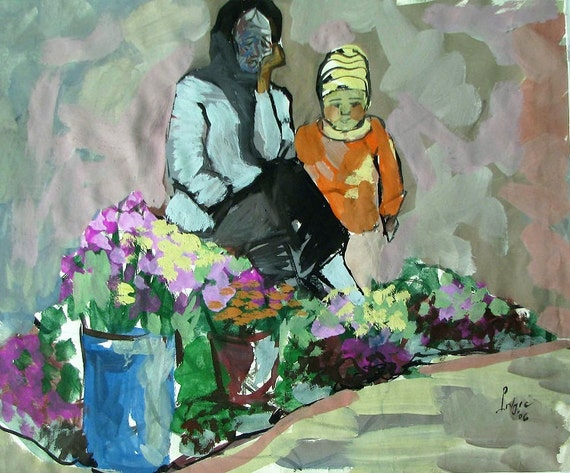 "HELPING GRANDMOTHER 17x14"" gouache on paper, live painting, Vietnam village scene, original by Nguyen Ly Phuong Ngoc"