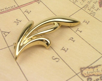 Vintage Abstract Leaf Silhouette Brooch - Golden Tone Patina - Vintage Jewelry - Gifts