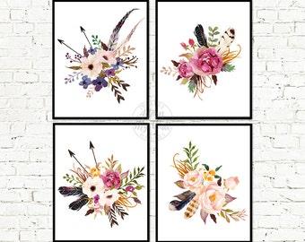 Floral print, Floral print set, Floral art, Wall Art, Floral Printable, Floral Nursery Art, Watercolor Flowers, Floral decor, Printable art