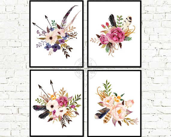 Floral print, Floral print set, Floral art, Wall Art, Floral Printable, Floral Nursery Art, Watercolor Flowers, Floral decor, Printable art