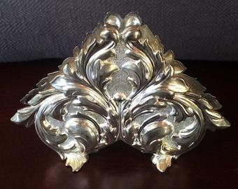 Vintage Silverplated Ornate Napkin Holder - Heart Leaf Silver Kitchen Decor