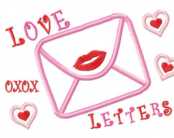 LOVE LETTERS Valentine Heart Kisses Applique Embroidery Design