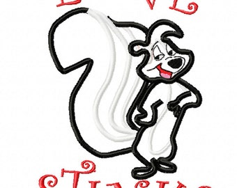 Skunk Love Stinks Valentine Applique Embroidery Design