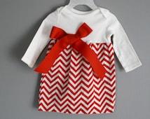 Onesie Dress baby toddler red chevron