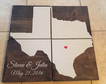 Large Texas wood sign (4 pieces) - can do any state