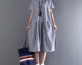 Women baggy dresses stripe dress linen short sleeve dress