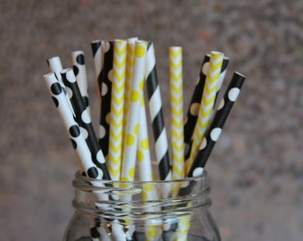 Bumblebee Paper Drinking Straws/Yellow Straws/Black Straws/Themed Party Straws/Construction Party Straws/Paper Straws