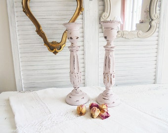 Shabby Chic candle holder pink pair