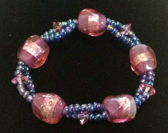 Purple and pink Glass beaded bracelet