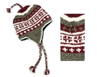 Hand Knit Wool Sherpa Hat, Winter Earflap Hat - Merlot Vintage Pattern - 2625R
