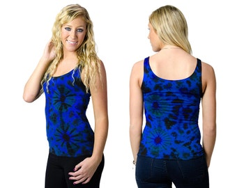 Tie Dye Tank Top - Blue Black Multi - 2299B