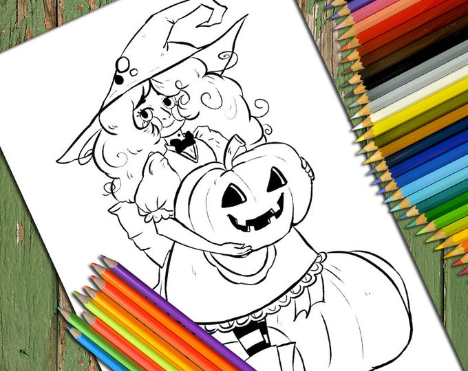 Halloween, Witch, Printable Adult Coloring Page, Kids coloring page, PDF Coloring Page, Line art, Printable Coloring Page, Download,