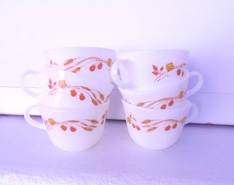 Pyrex Harvest Home Round Bottom Coffee mugs, set of 6, made in 1980s