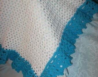 Baby Blanket, Crocheted, Teal and White