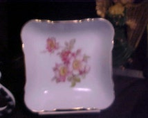 Schumann/Golden Crown E & R 1885 Wild rose dish pin/trinket Great condition  Full gold